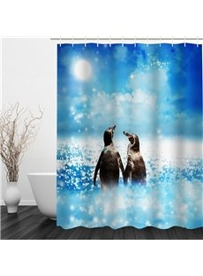 3D Penguins in Shining Sea Polyester Waterproof Antibacterial and Eco-friendly Shower Curtain