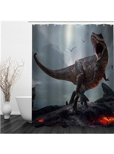 3D Dinosaur Pattern Polyester Waterproof Antibacterial and Eco-friendly Shower Curtain