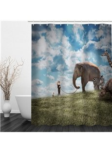 3D Elephant and Zebra Pattern Polyester Waterproof Antibacterial and Eco-friendly Shower Curtain