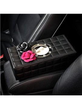 High-class Grid Soft Leather With Two Camellia Flowers Car Tissue Box