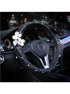 Girly Little Daisy Decoration Inlaid With Artificial Pearls Steering Wheel Cover