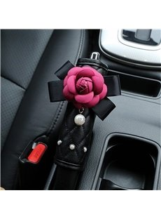Red Camellia Design With Artificial Pearls Hand Brake Cover