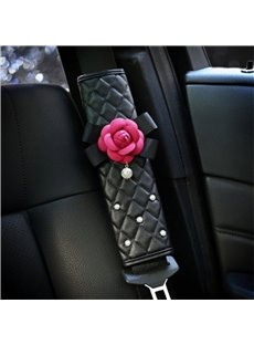 Red Camellia Design With Artificial Pearls Lovely Car Seat Belt Cover