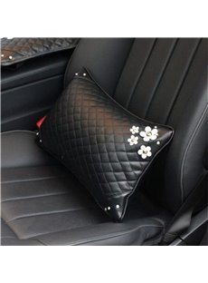 Girly Elegant Daisy ornament High-grade Leather Car Waistrest Pillow