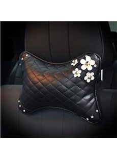 Girly Elegant Daisy ornament High-grade Leather Car Neckrest Pillow