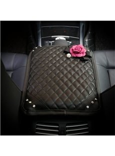 Super Soft Relaxing Studded Rhinestone And Artificial Flower Car Central Armrest Pad