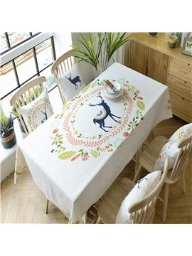 Lovely Deer in Beautiful Floral Ring Thick Fabric Square Dinning Table Cloth