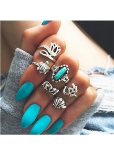 6 Pieces Vintage Blue Silver Boho Rings Set
