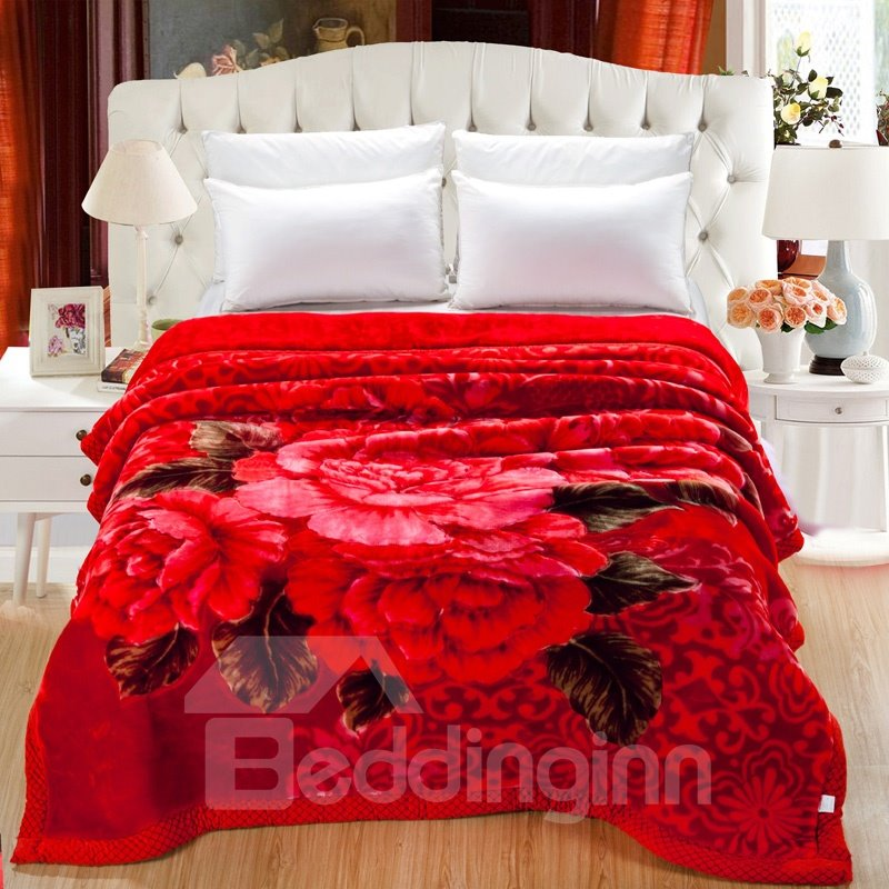 Superieur Cluster Of Bright Red Peonies Printed Super Soft Flannel Thick Bed Blankets  ...