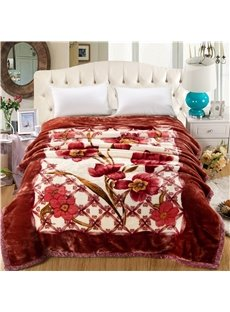 Graceful Peonies Printed Burgundy Flannel Fleece Bed Blankets