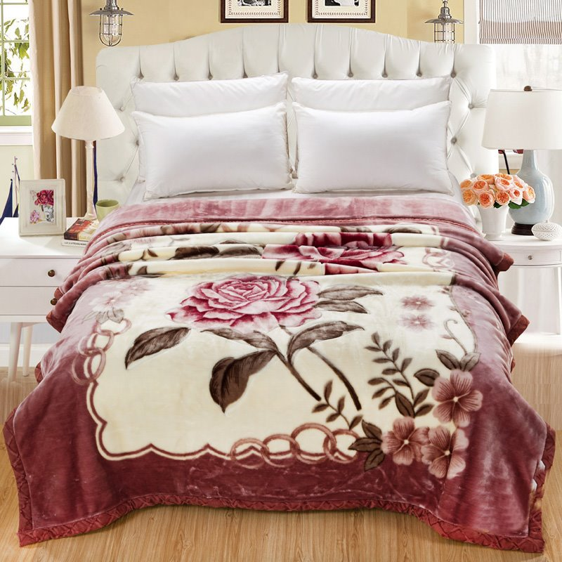 Graceful Pink Roses Printed Thick Flannel Fleece Bed Blankets beddinginn