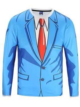 Blue Suit Tie Long Sleeve Round Neck 3D Painted T-Shirt