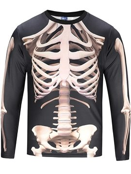 Black White Skeleton Long Sleeve Round Neck 3D Painted T-Shirt