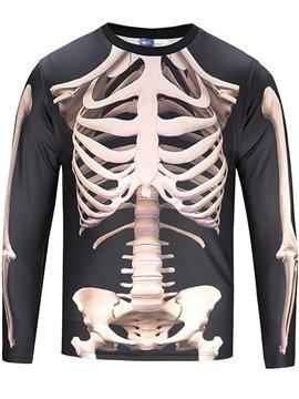 Black White Skull Long Sleeve Round Neck 3D Painted T-Shirt