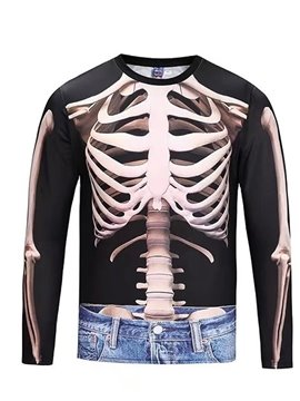 Skull with Jeans Long Sleeve Round Neck 3D Painted T-Shirt