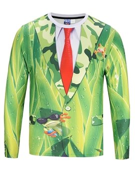 Green Suit Red Tie Long Sleeve Round Neck 3D Painted T-Shirt