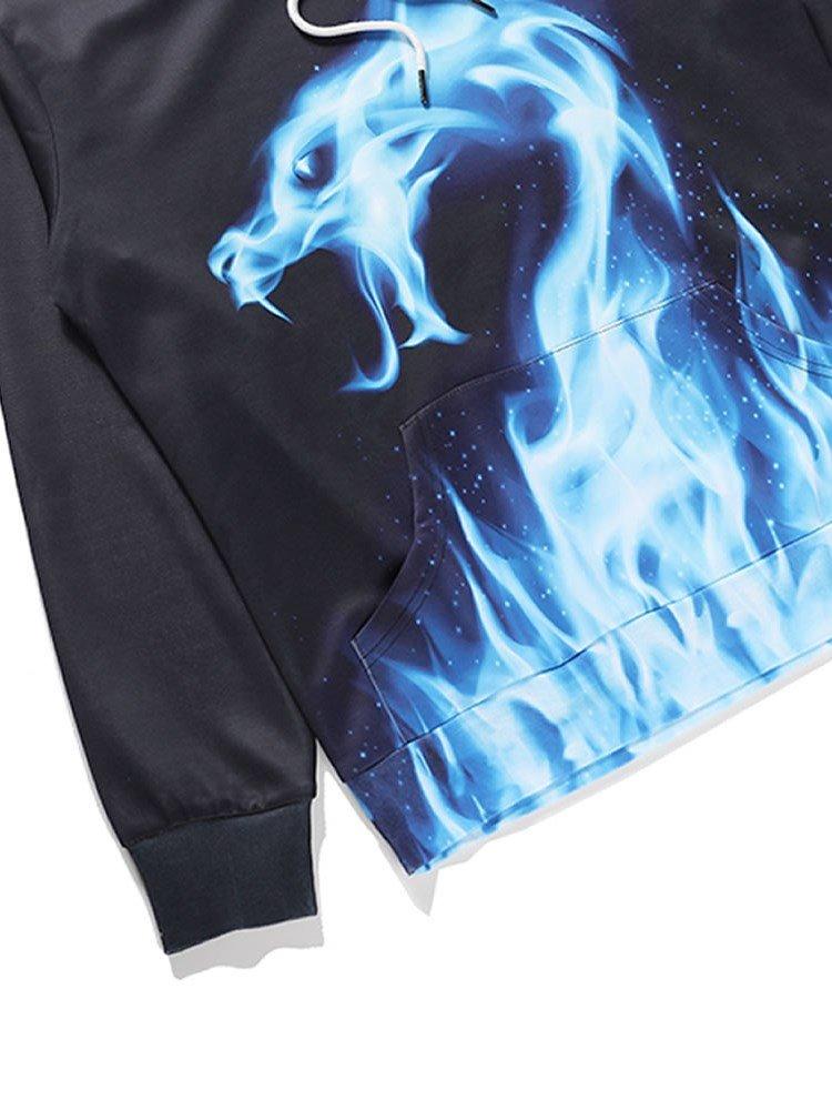 Blue Fire Dragon Long Sleeve 3d Pattern Hoodie