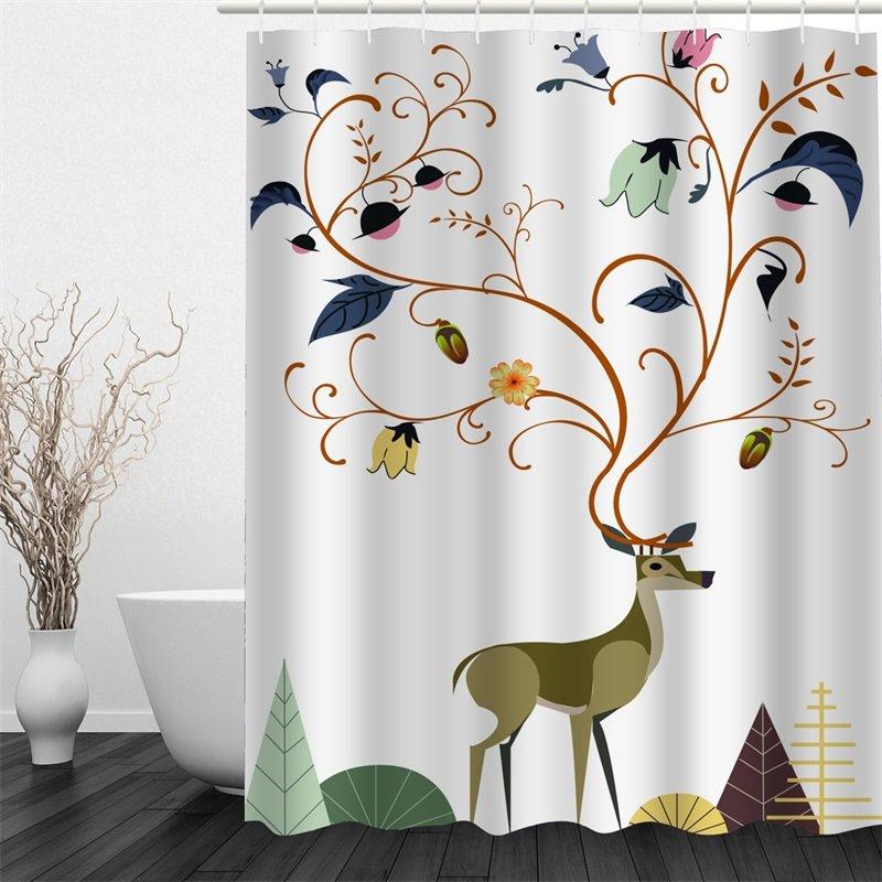 51 3D Deer Flowers Polyester Waterproof Antibacterial And Eco Friendly  Shower Curtain