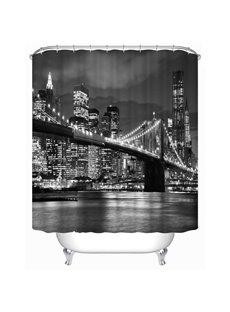 3D Bridge in Nightlight Polyester Waterproof Antibacterial and Eco-friendly Grey Shower Curtain