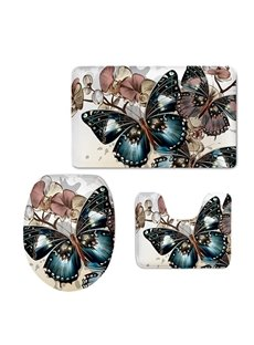Butterfly Pattern Flannel PVC Soft Water-Absorption and Anti-slid Toilet Seat Covers