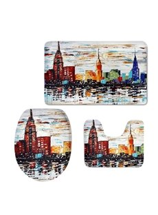 Buildings in City Pattern Flannel PVC Soft Water-Absorption and Anti-slid Toilet Seat Covers