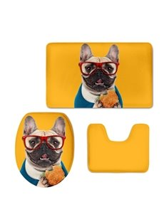 Bulldog with Glasses Hamburg Pattern Flannel PVC Soft Water-Absorption Anti-slid Toilet Seat Covers