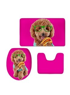 Teddy with Glasses Hamburg Pattern Flannel PVC Soft Water-Absorption Anti-slid Toilet Seat Covers
