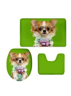 Papillon with Glasses Pattern Flannel PVC Soft Water-Absorption and Anti-slid Toilet Seat Covers