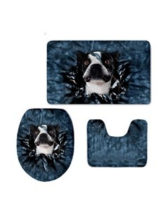 3D Dog Pattern Flannel PVC Soft Water-Absorption and Anti-slid Toilet Seat Covers