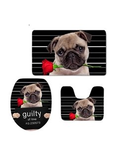 Bulldog with Rose Pattern Flannel PVC Soft Water-Absorption and Anti-slid Toilet Seat Covers