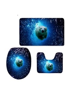 Polar Bear in Sea Pattern Flannel PVC Soft Water-Absorption Anti-slid Toilet Seat Covers