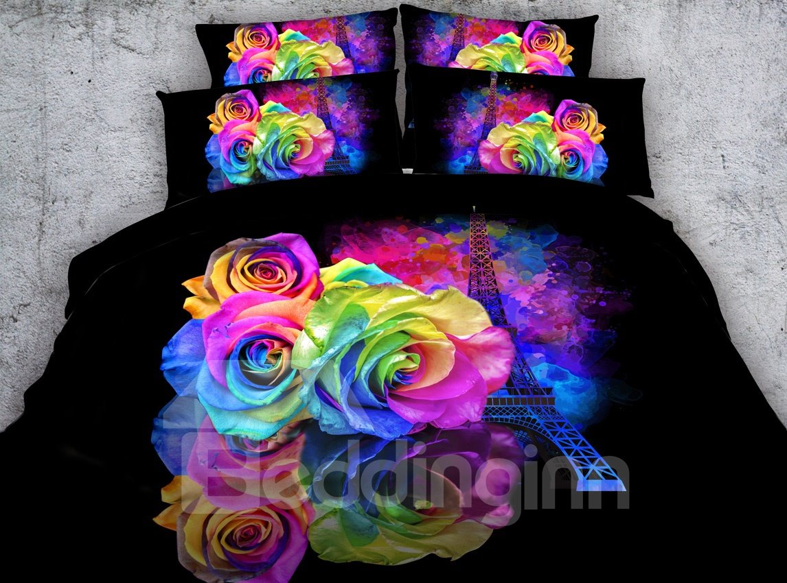 3d Eiffel Tower Roses Printed Cotton 5 Piece Comforter Sets Pic