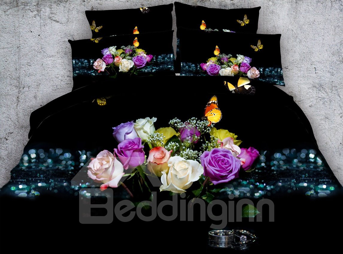 3d Floral Butterfly Printed Cotton 5 Piece Black Comforter Sets Pic