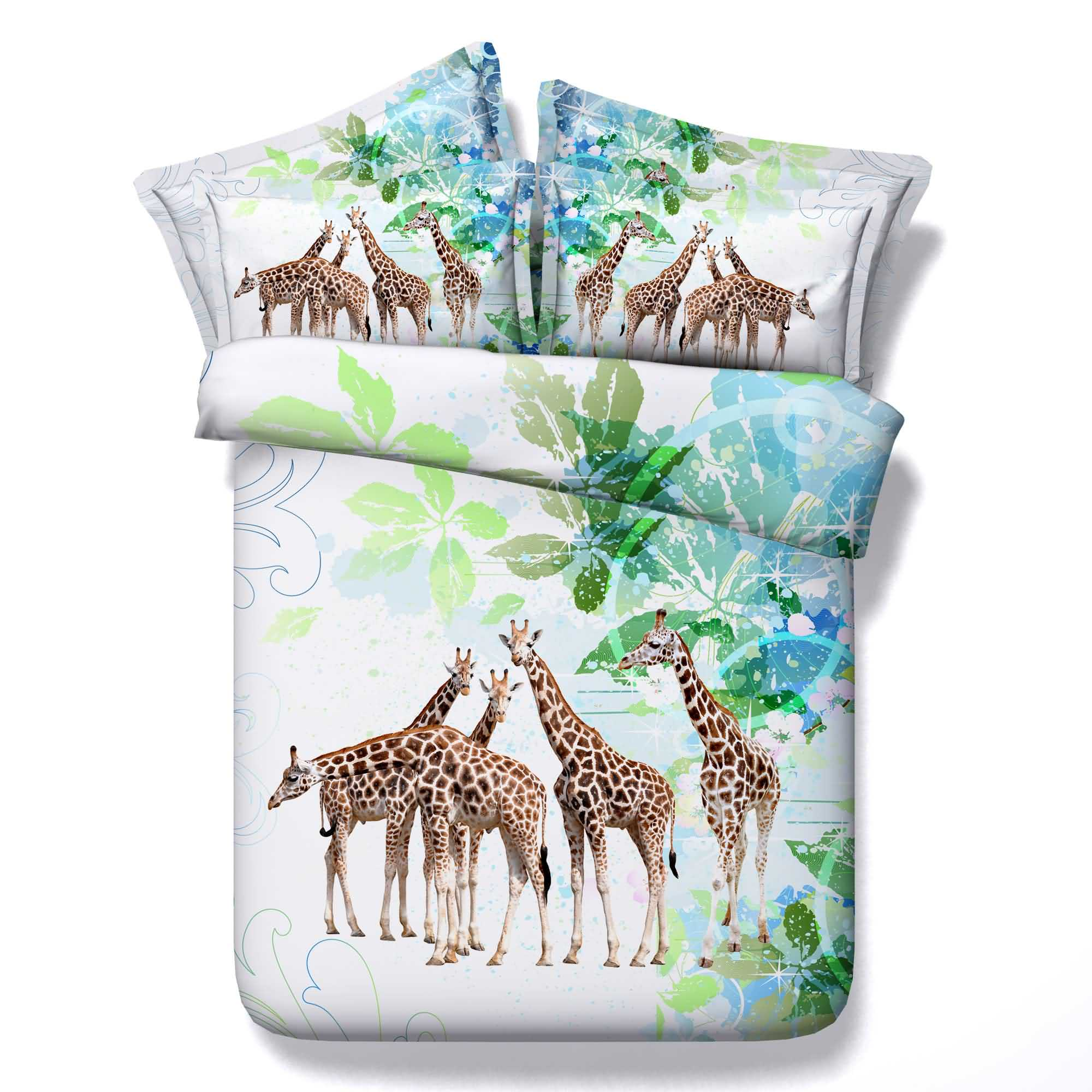 3D Giraffe and Green Leaves Printed Cotton 4-Piece Bedding Sets/Duvet Covers