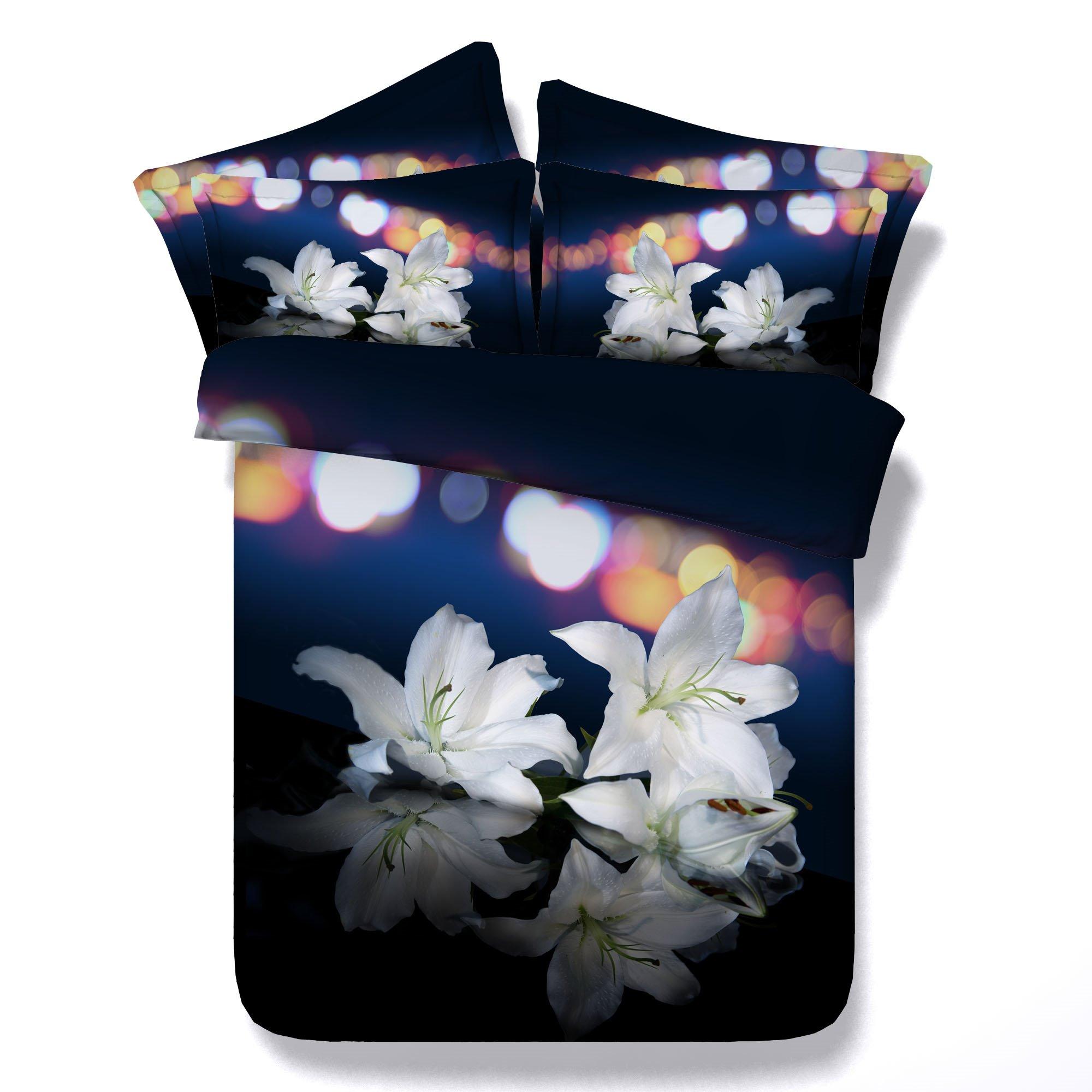 White Lilies Printed Cotton 3D 4-Piece Bedding Sets/Duvet Covers
