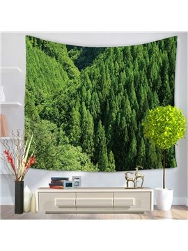 Top View Broad Green Forest Decorative Hanging Wall Tapestry