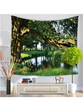 Verdant Woods and Lake Green Decorative Hanging Wall Tapestry