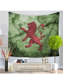 Red Lion Catching Insect Green Decorative Hanging Wall Tapestry