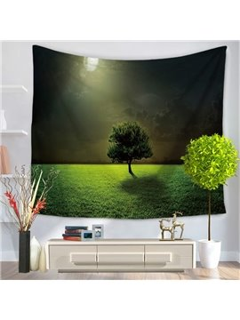 Solo Tree and Lights Flash Pattern Green Decorative Hanging Wall Tapestry