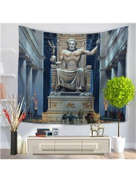 Statue of Zeus at Olympic Pattern Decorative Hanging Wall Tapestry