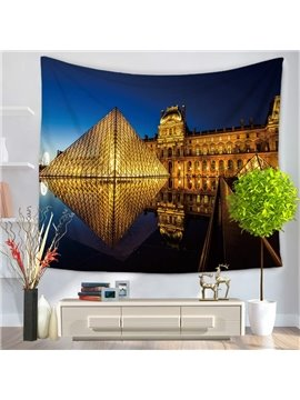 French Louvre Museum Night Scene Decorative Hanging Wall Tapestry