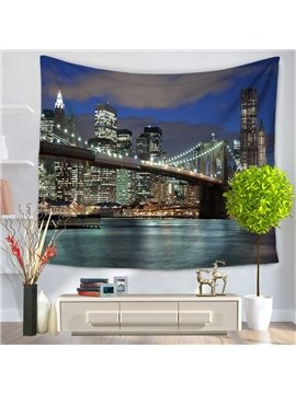 Night Scene New York Brooklyn Bridge Decorative Hanging Wall Tapestry
