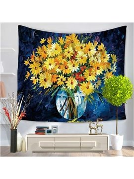 Cluster of Yellow Flowers Pattern Decorative Hanging Wall Tapestry
