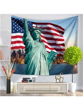 American Statue of Liberty and Flag Decorative Hanging Wall Tapestry