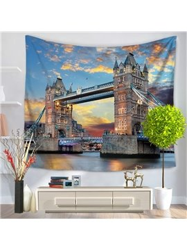 Sunset London Tower Bridge Pattern Decorative Hanging Wall Tapestry