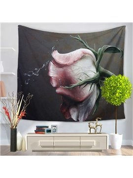 Pink Rose with Water Drop Pattern Decorative Hanging Wall Tapestry
