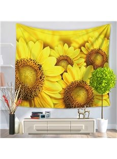 Yellow Blooming Sunflowers Pattern Decorative Hanging Wall Tapestry