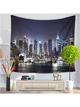 Prosperous Metropolis Night Scene Pattern Decorative Hanging Wall Tapestries