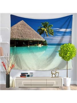 Wooden Pavilions and Palm Tree in Blue Ocean Decorative Hanging Wall Tapestry
