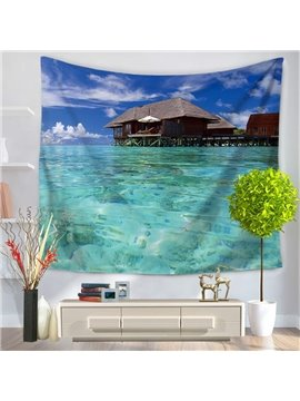 Sea Island with Bright Blue Sky and Clean Water Decorative Hanging Wall Tapestry